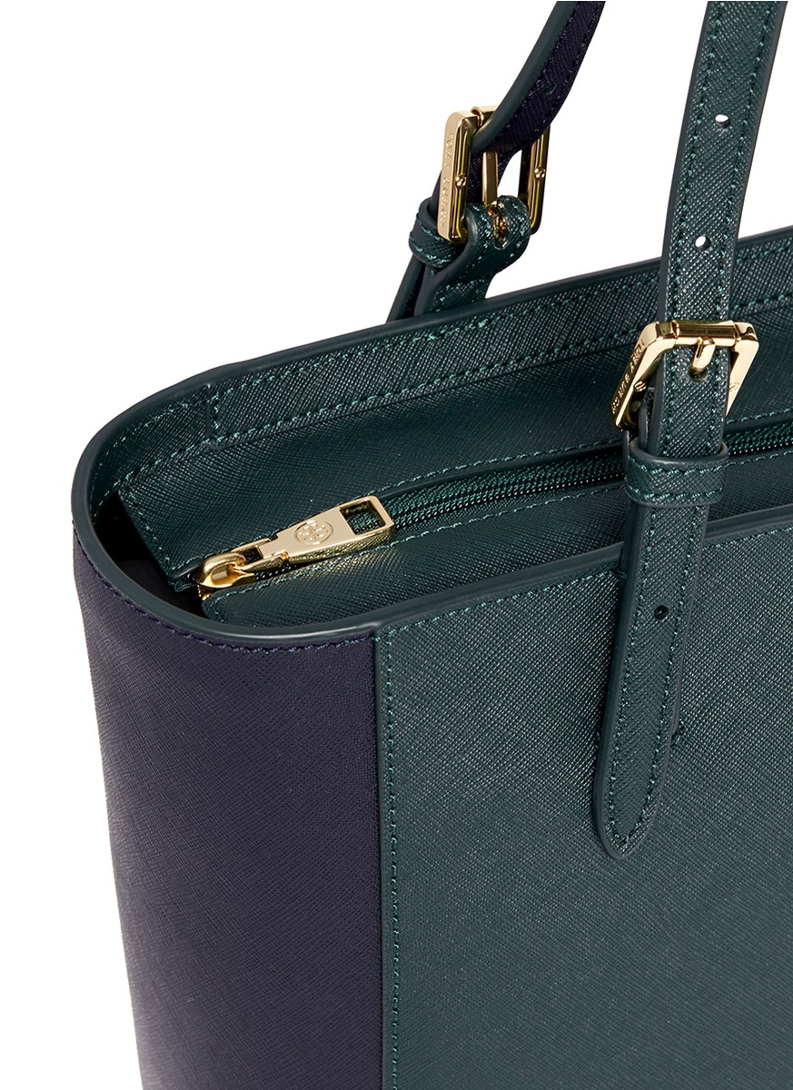 eccb4d1ccffe Lyst - Tory Burch  york  Small Leather Buckle Tote in Green