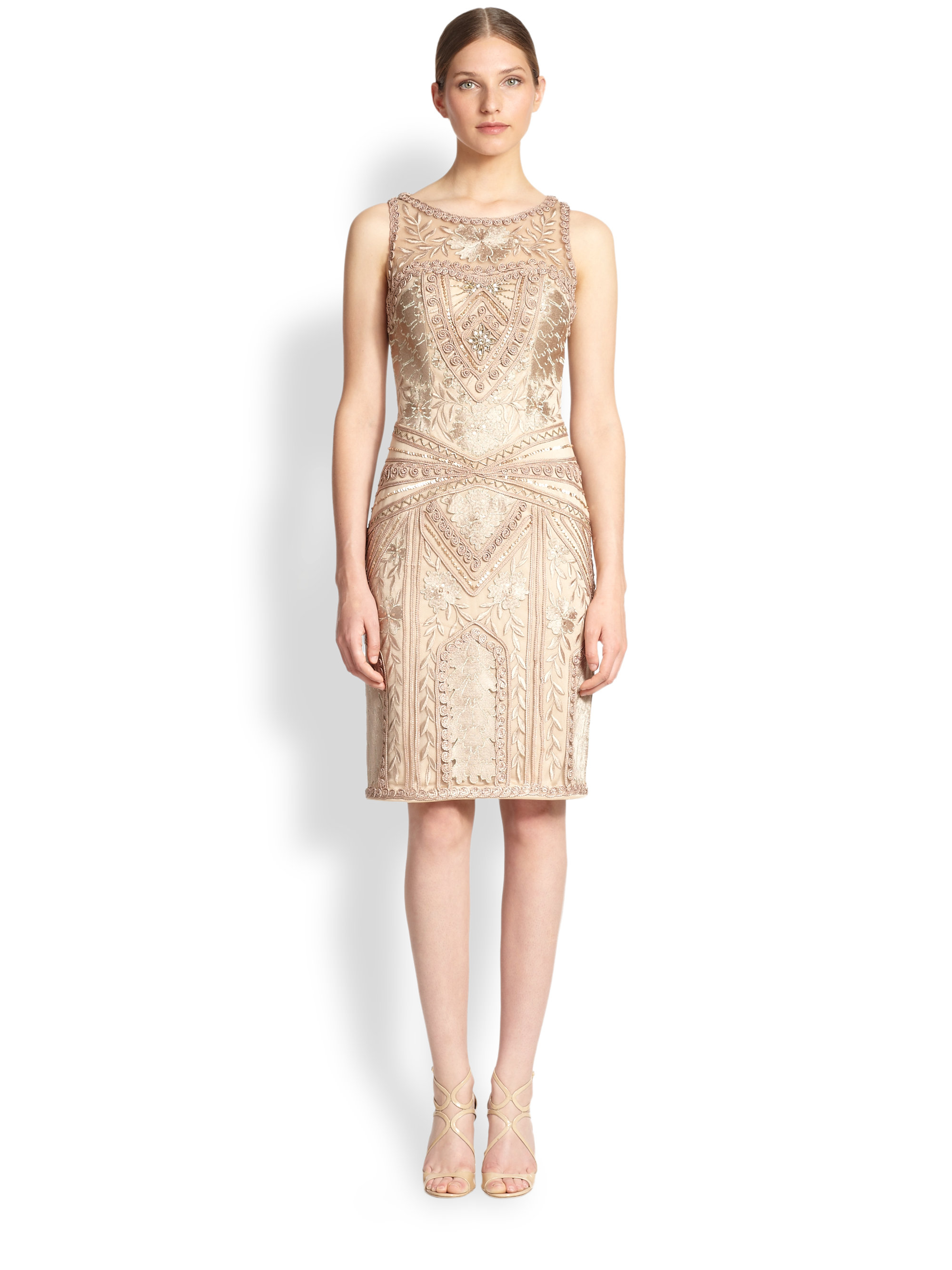 03301cc8b9b Sue Wong Embroidered Sheath Dress in Natural - Lyst