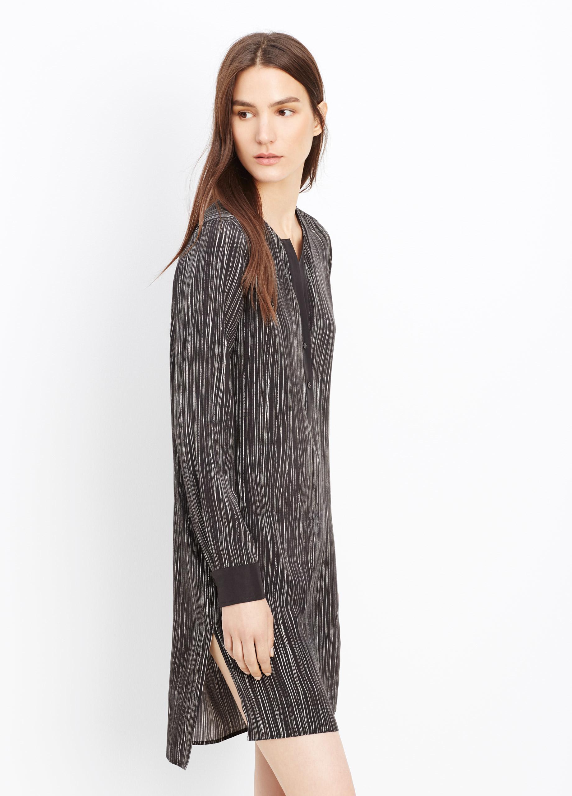 Lyst Vince Silk Wavy Stripe Printed Dress In Black