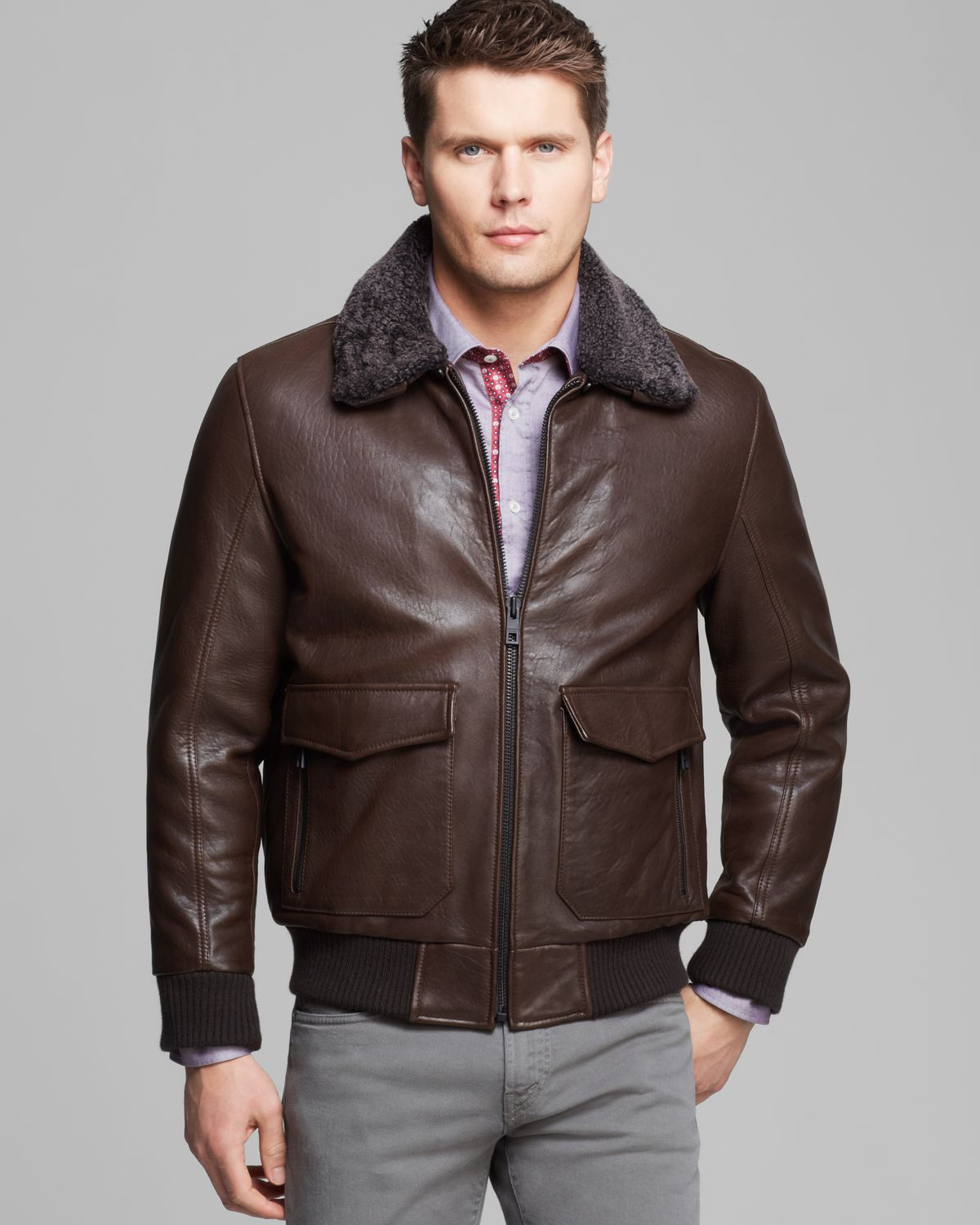 Lyst Andrew Marc Felix Rugged Leather Shearling Bomber