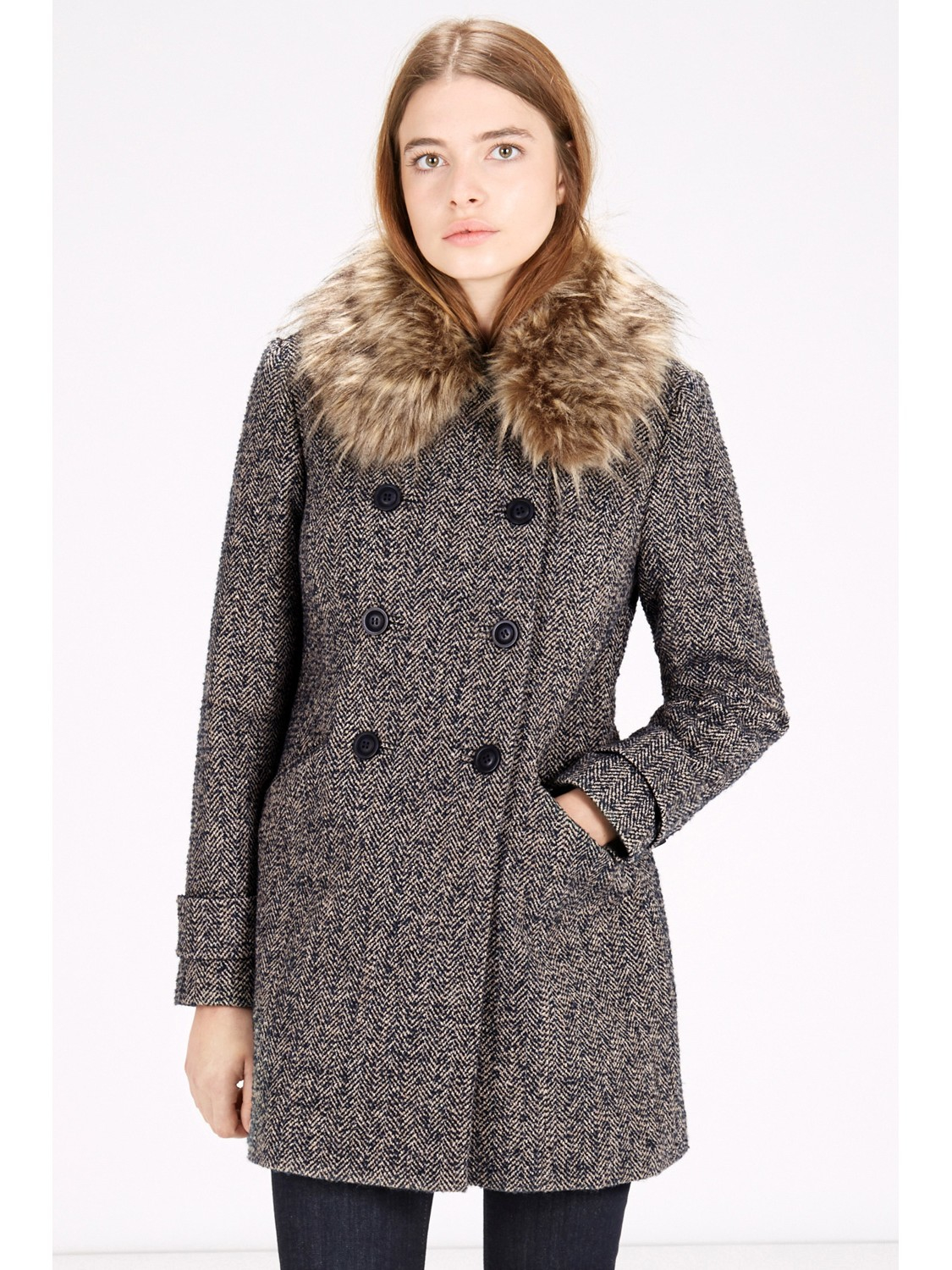 Warehouse Double Breasted Faux Fur Collar Jacket in Blue | Lyst