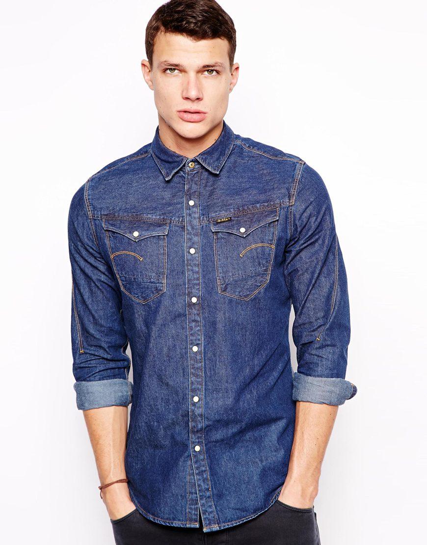 g star raw g star shirt arc 3d denim light aged in blue for men lyst. Black Bedroom Furniture Sets. Home Design Ideas