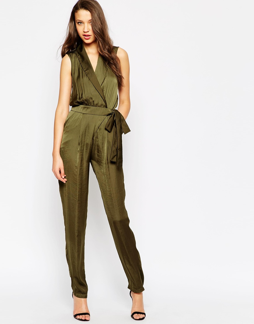 07f0497e9e42 Lyst - ASOS Tall Utility Wrap Jumpsuit in Natural