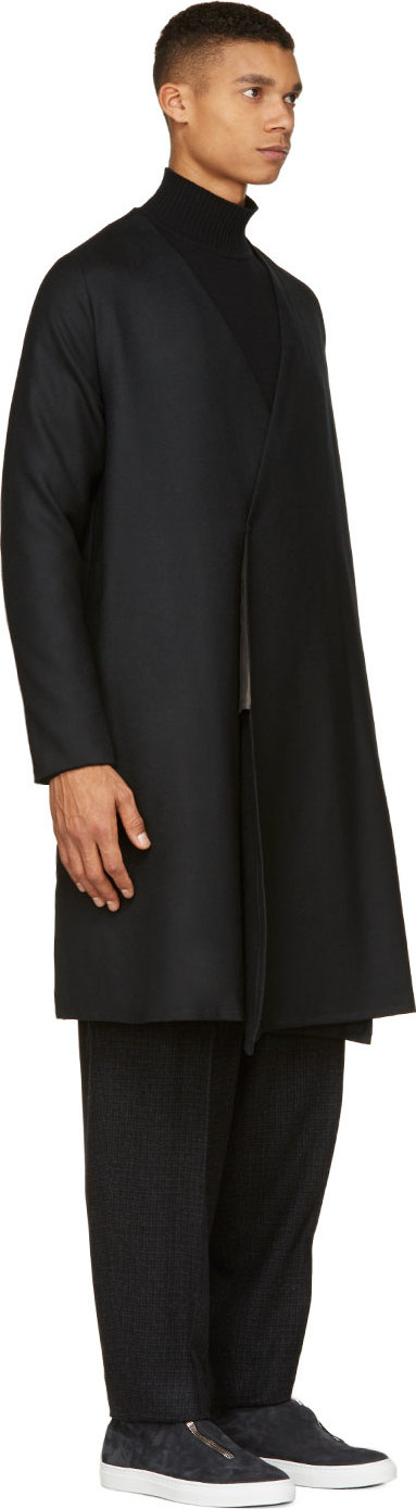 Sasquatchfabrix Black Collarless Open Haneri Coat in Black for Men ...