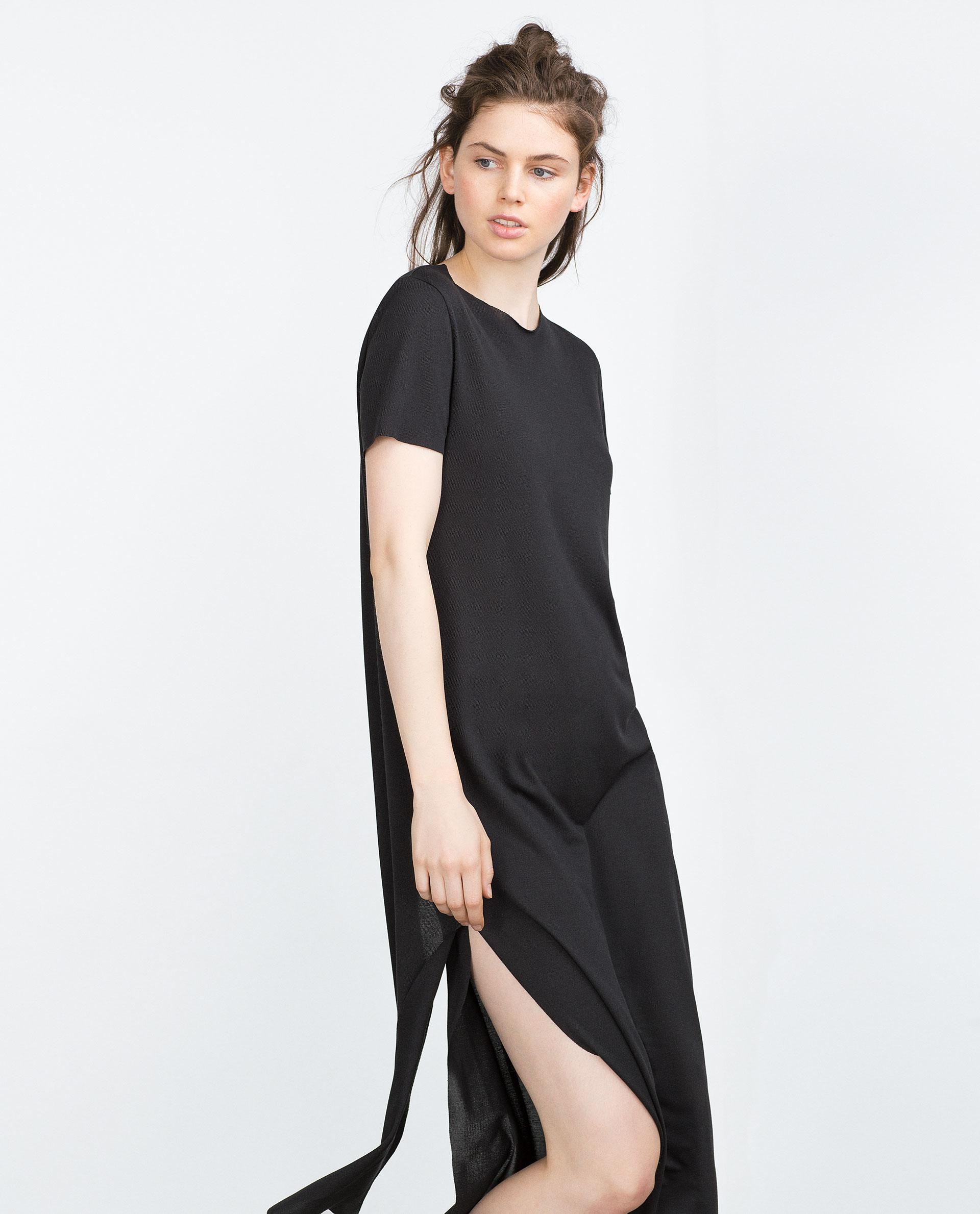 Zara long t shirt with back opening in black lyst for Zara black t shirt dress