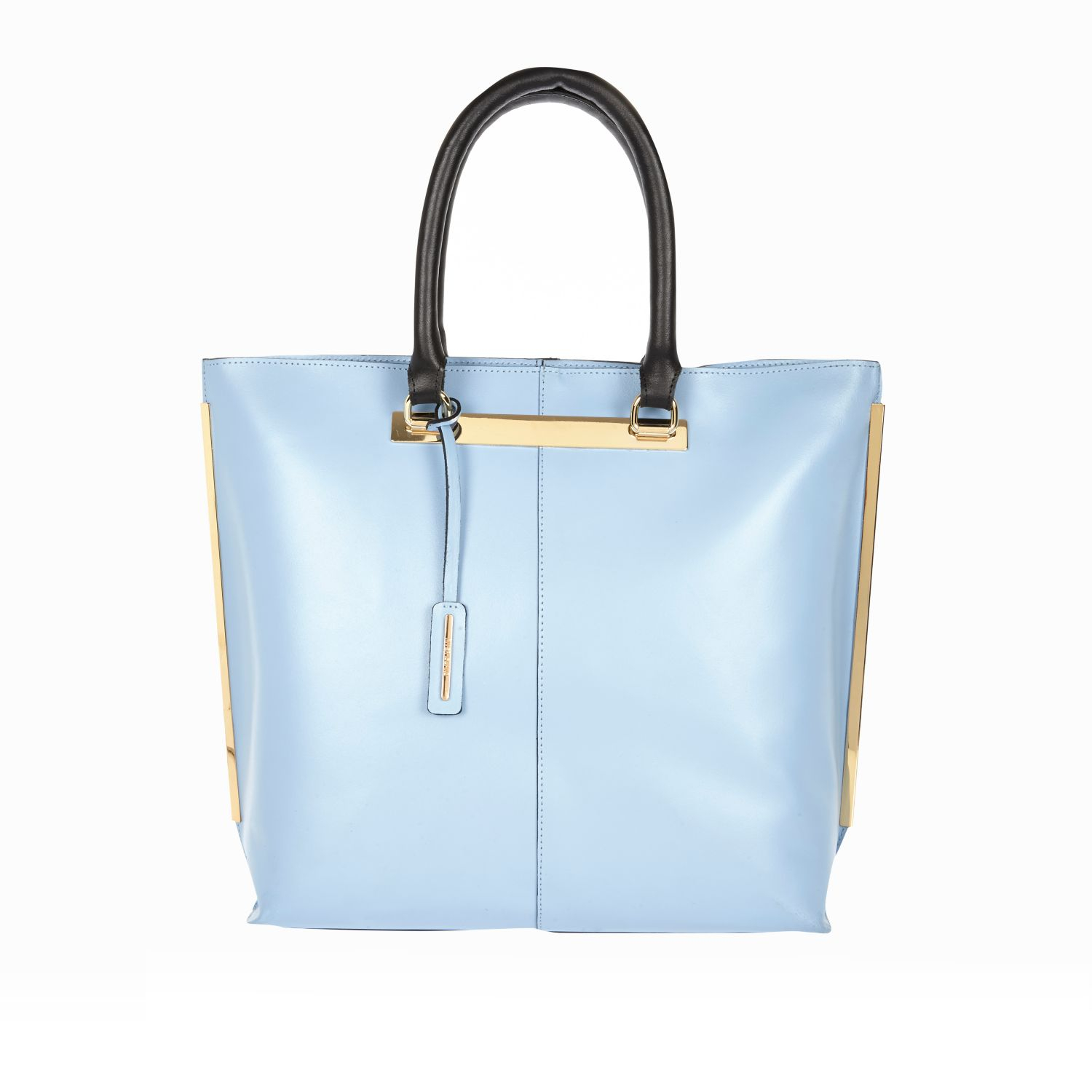 River Island Light Blue Leather Metal Trim Tote Bag in Blue