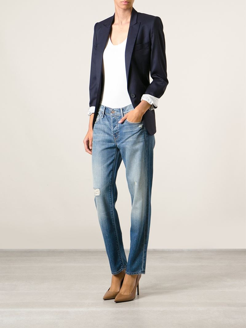 Mother &39the Loosey&39 Ripped Capri Jeans in Blue  Lyst