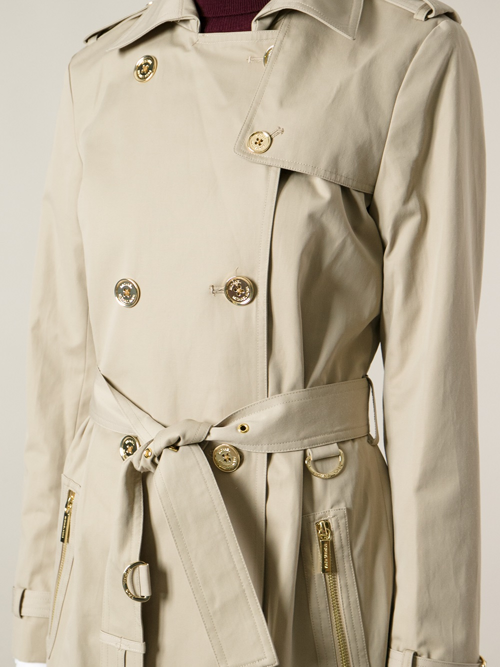 f83ed41b26 Lyst - MICHAEL Michael Kors Double Breasted Trench Coat in Natural