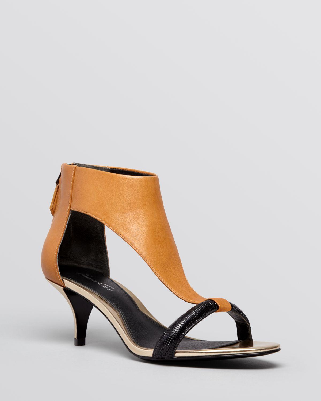 Kenneth cole Open Toe Sandals Havemeyer Kitten Heel in Brown | Lyst