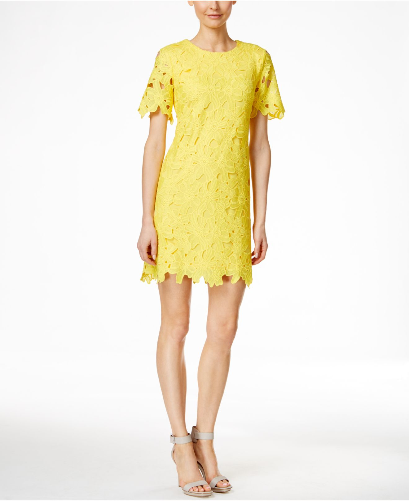9ef13a5f4f84 Lyst - Calvin Klein Short-sleeve Lace Sheath Dress in Yellow
