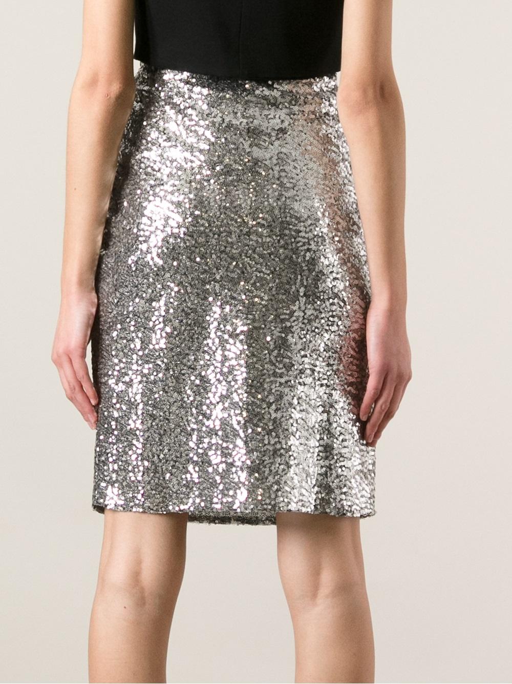 Philipp plein Sequin Skirt in Metallic | Lyst