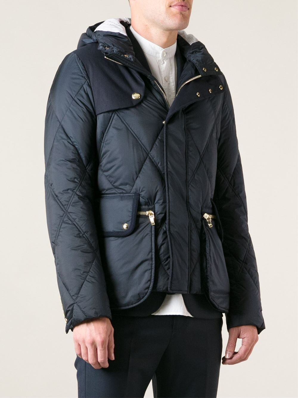 Moncler gamme bleu Quilted Feather Down Jacket in Blue for Men | Lyst