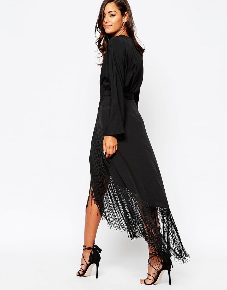 2d528949c4b0 Lyst - ASOS Fringe Deep Plunge Maxi Dress in Black