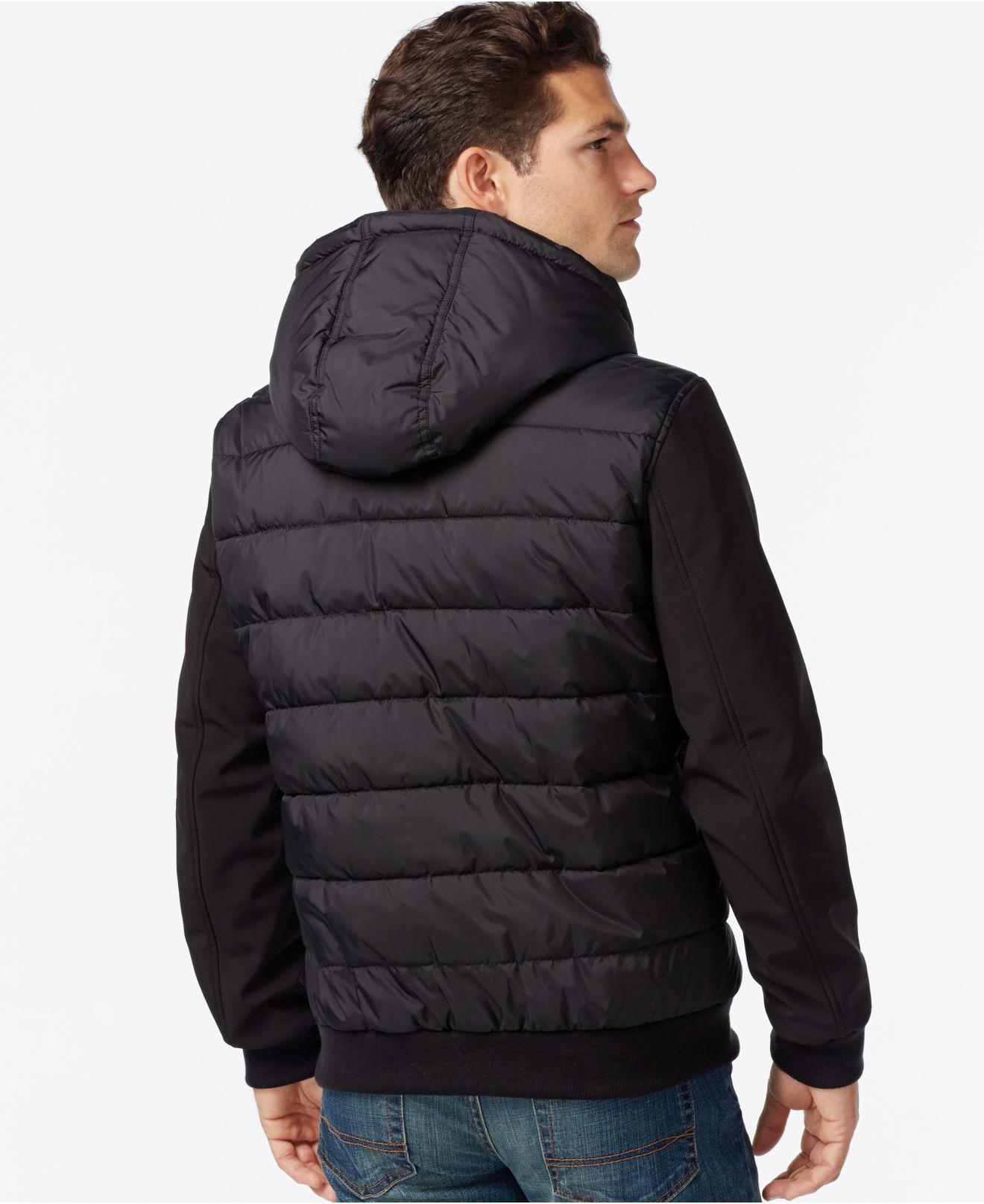 Tommy Hilfiger Big Amp Tall Softshell Puffer Jacket In Black