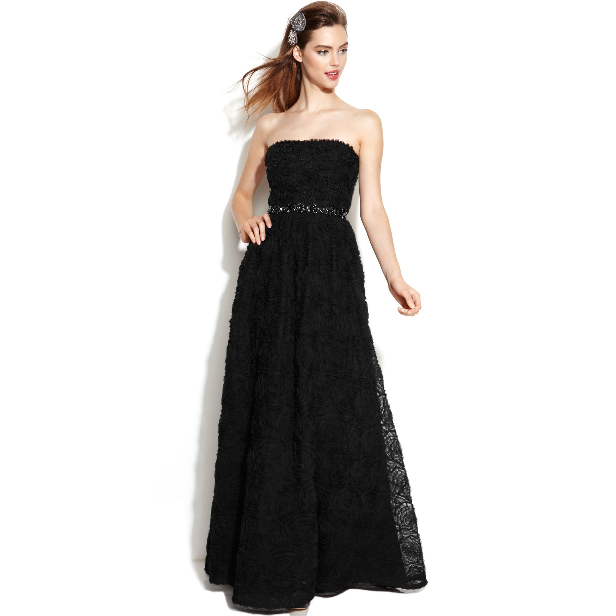 Lyst - Adrianna Papell Strapless Beaded Ball Gown in Black