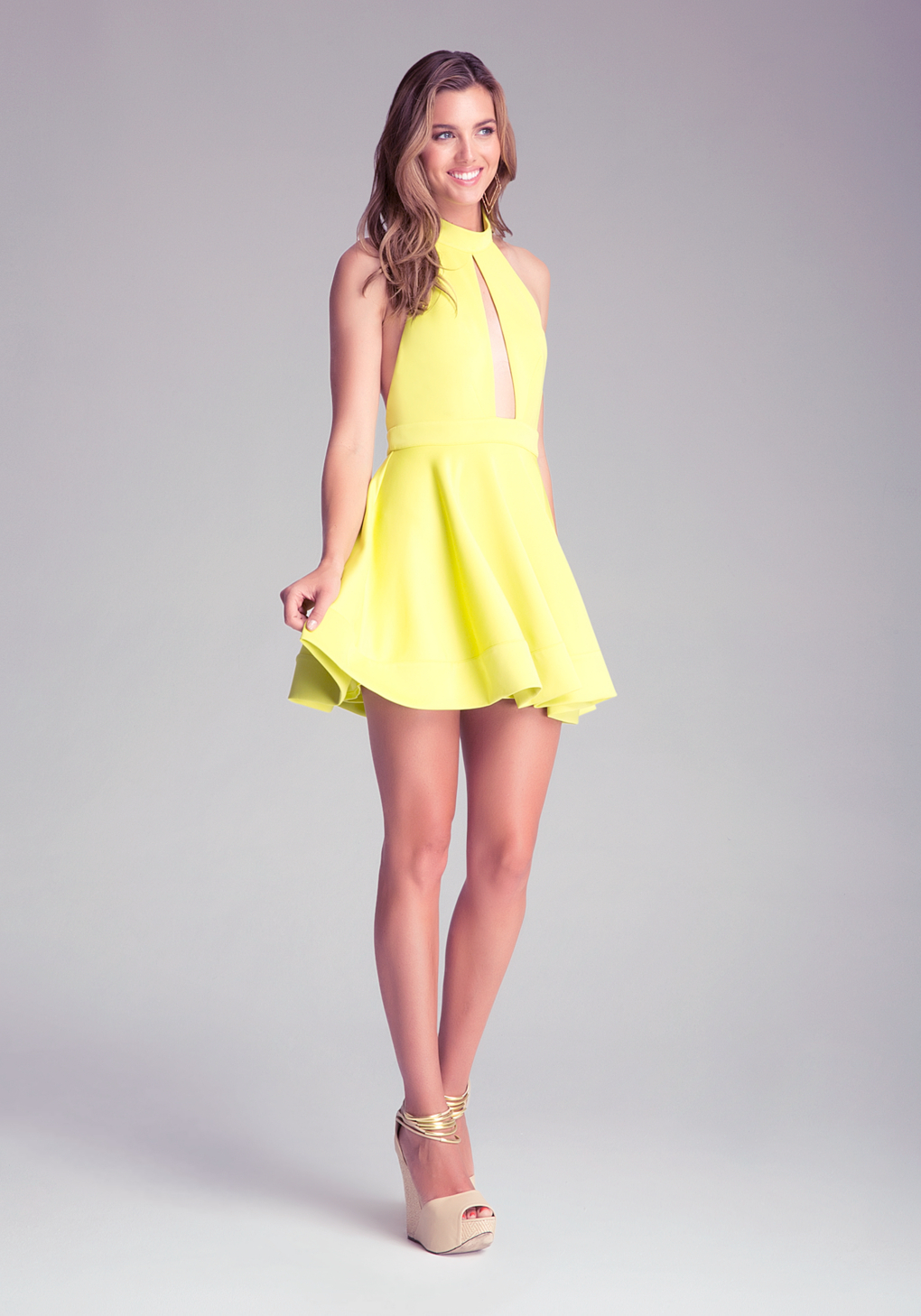 Lyst Bebe Backless Fit Flare Dress In Yellow