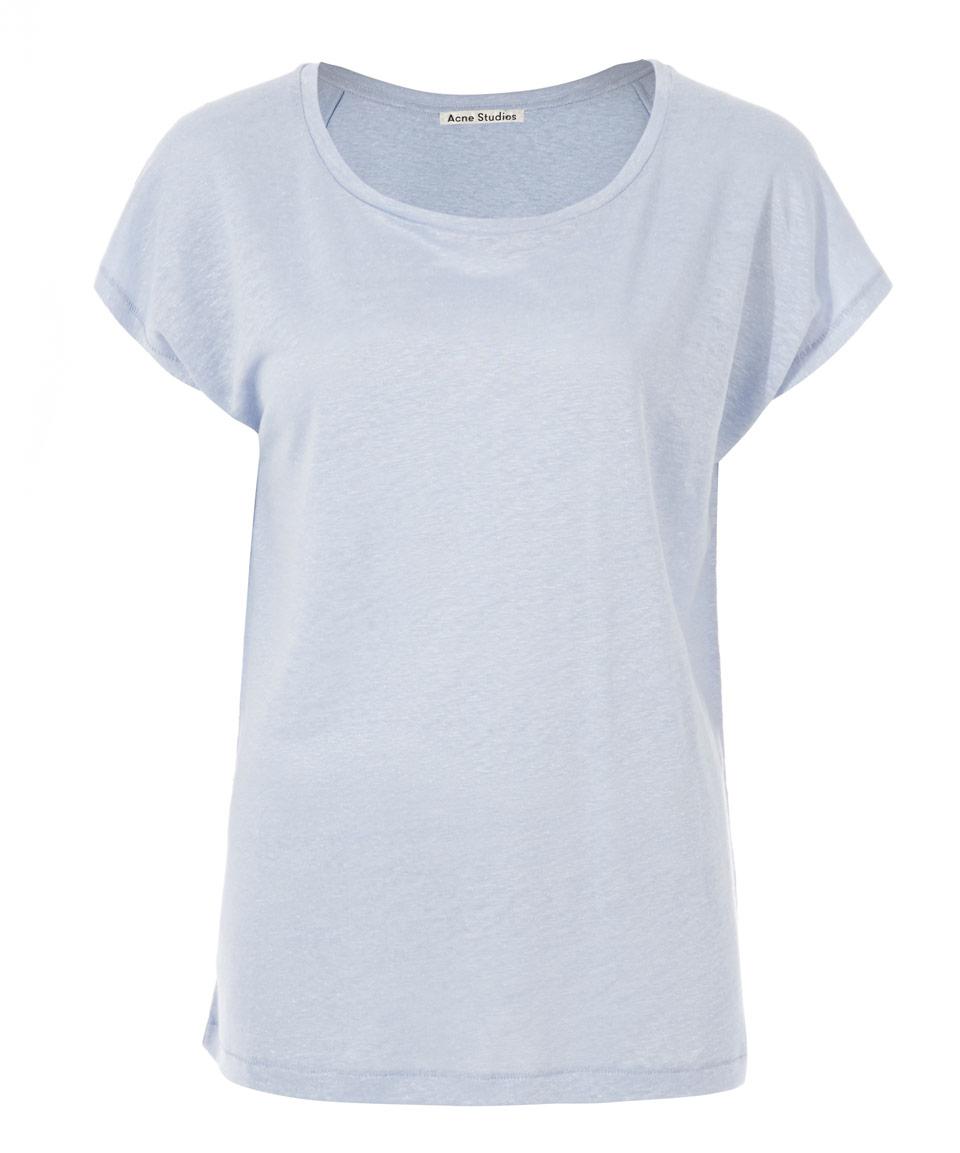 Acne Studios Light Blue Linen Narda T Shirt In Blue Lyst