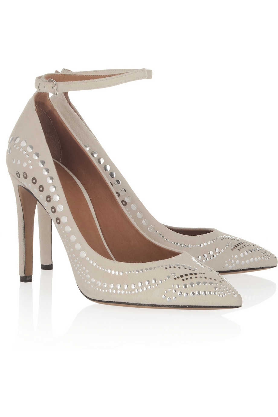 90f55d0602 Isabel Marant Stanley Studded Suede Pumps in White - Lyst