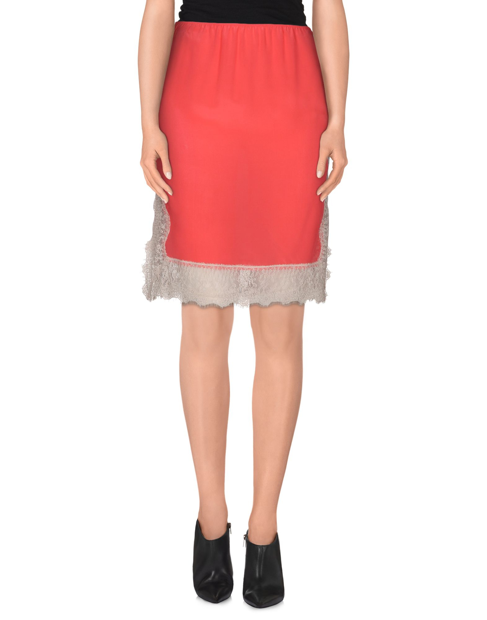 pinko knee length skirt in pink coral lyst