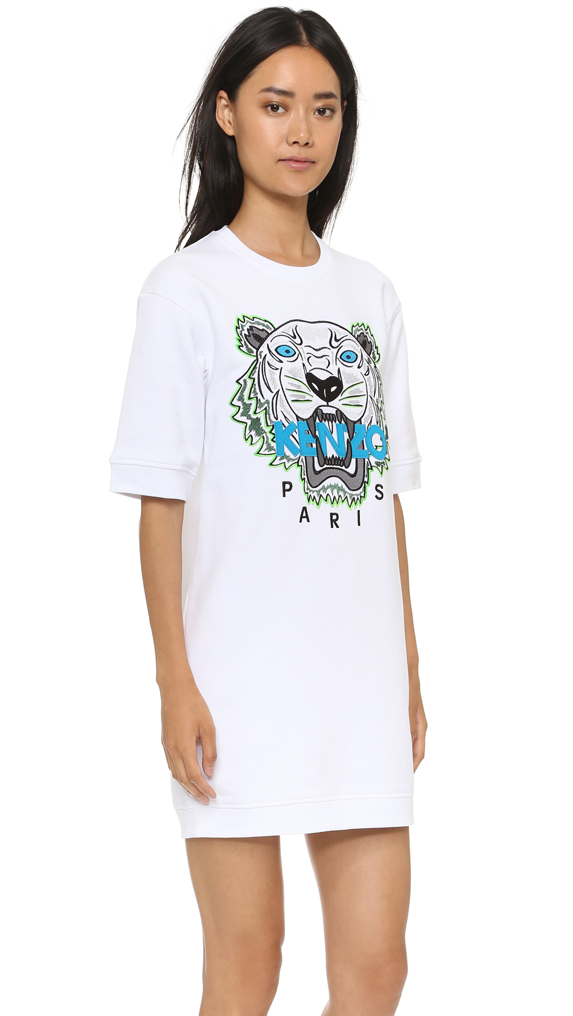 c7381a3a1d86 KENZO Tiger Sweatshirt Dress in White - Lyst