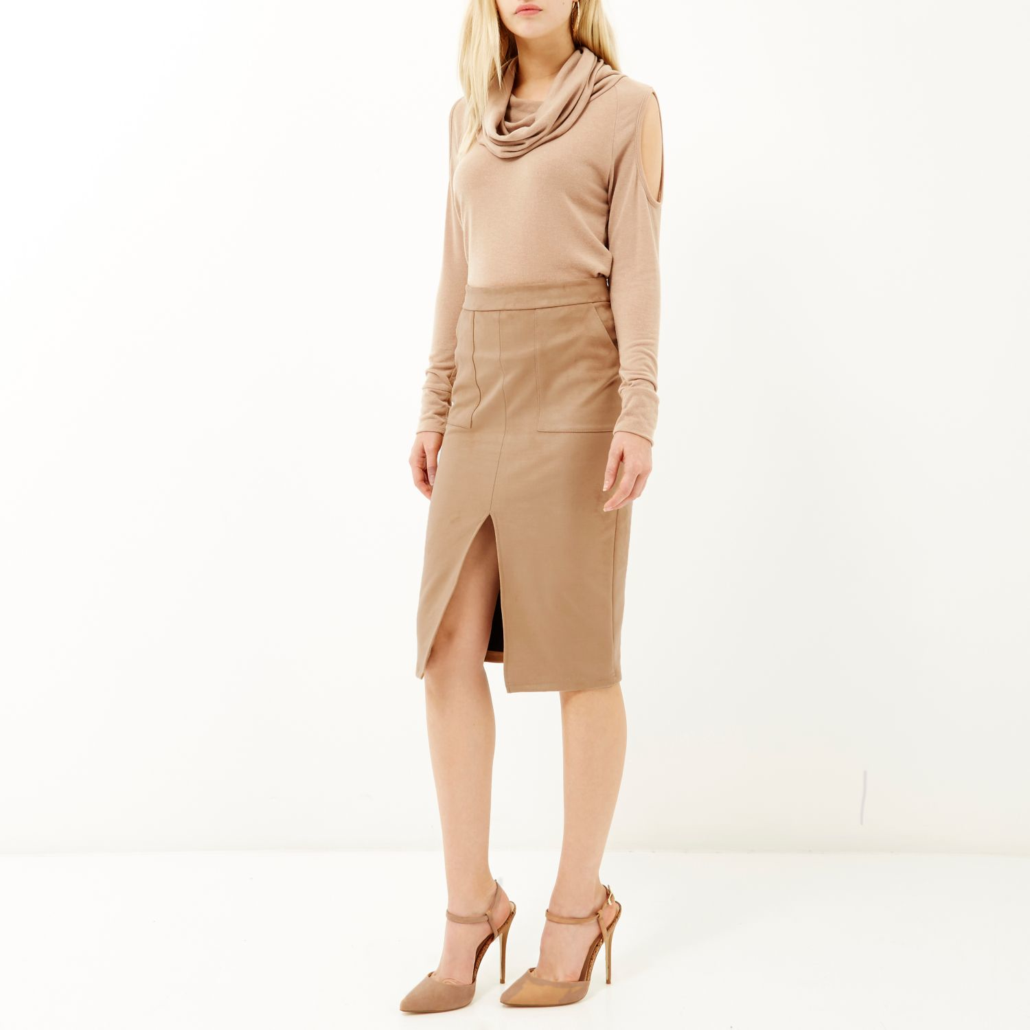 68d69e93e River Island Brown Faux-suede Split Front Pencil Skirt in Brown - Lyst