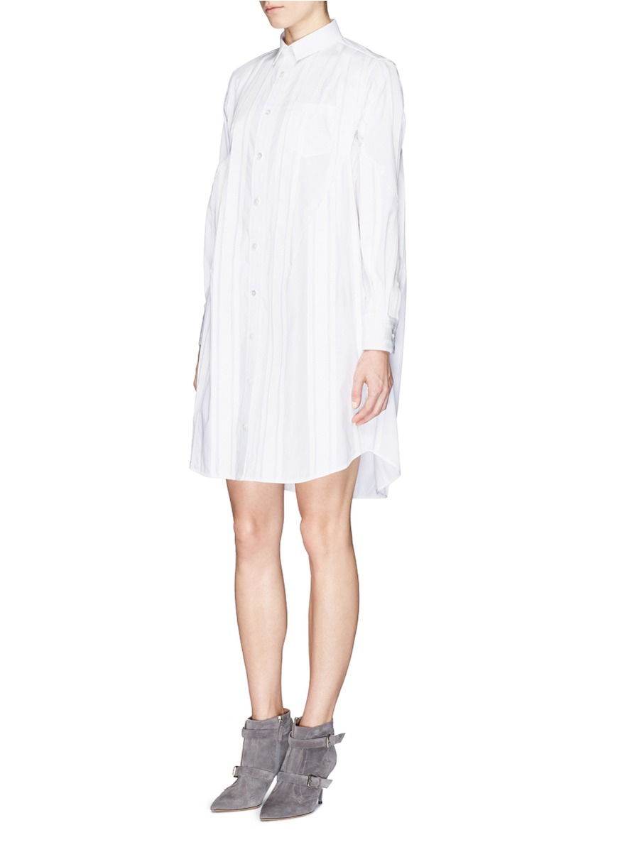 Lyst Sacai Grosgrain Stripe Cotton Poplin Shirt Dress In White