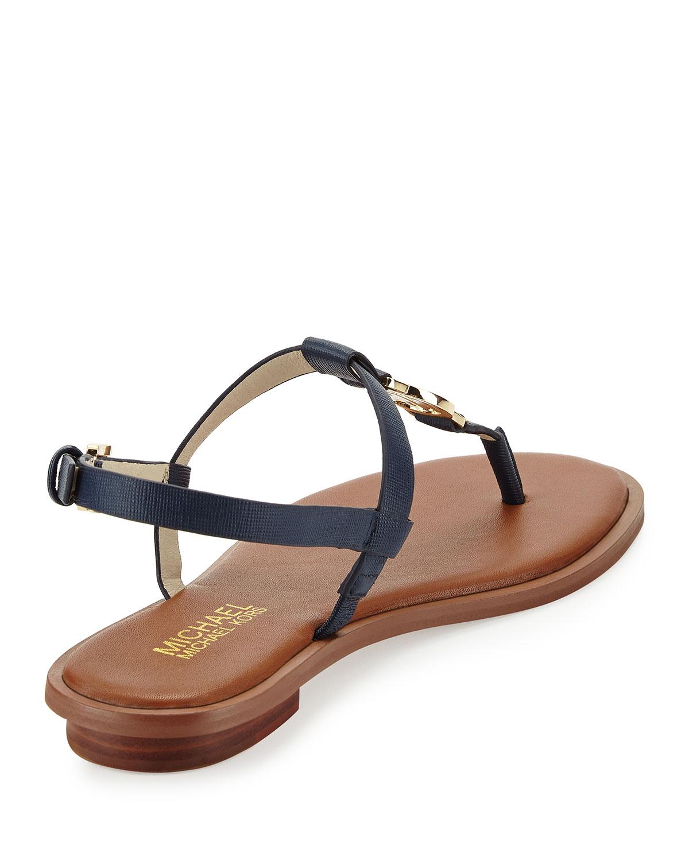 ad0ecc60faafd0 Lyst - MICHAEL Michael Kors Sondra Logo Thong Sandal in Blue