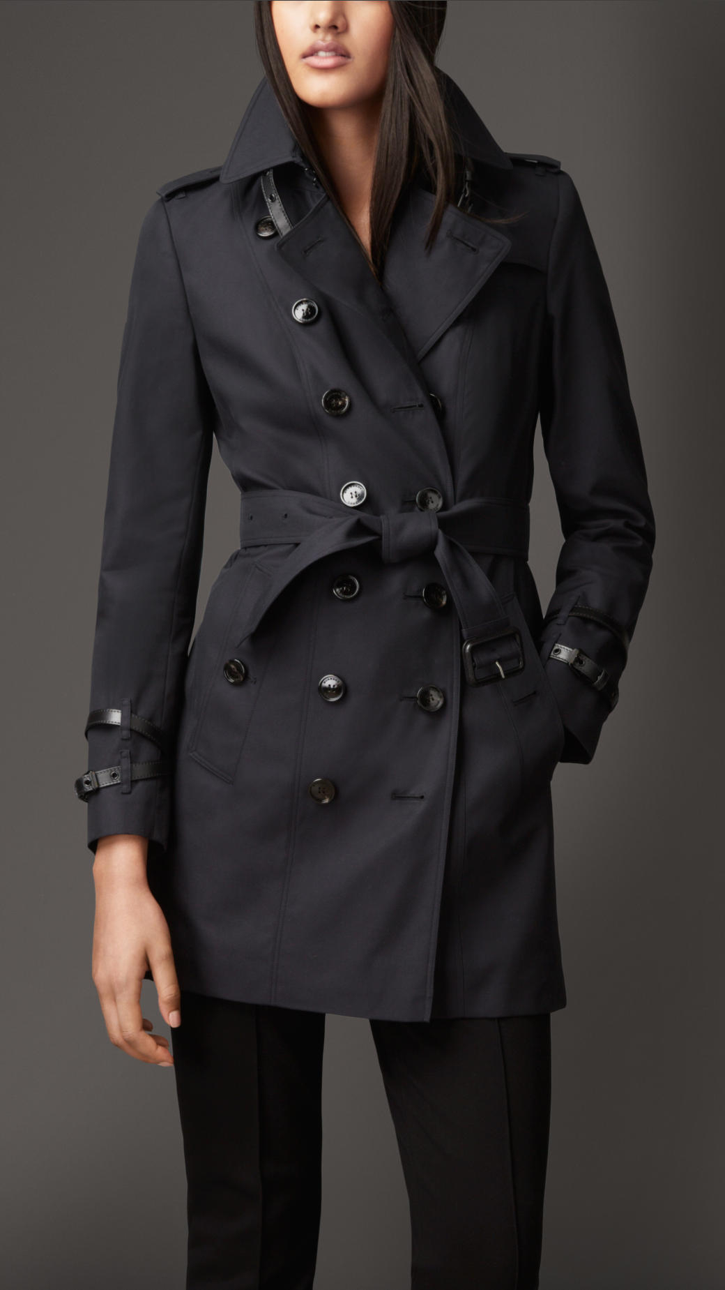 Burberry Leather Detail Gabardine Trench Coat Navy in Blue ...