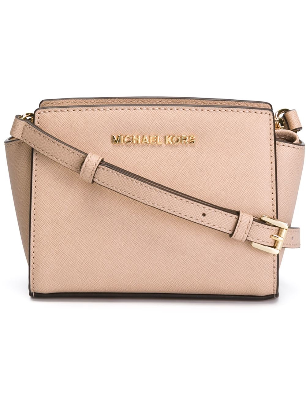 28479ab335c1 MICHAEL Michael Kors Mini Selma Leather Cross-Body Bag in Natural - Lyst