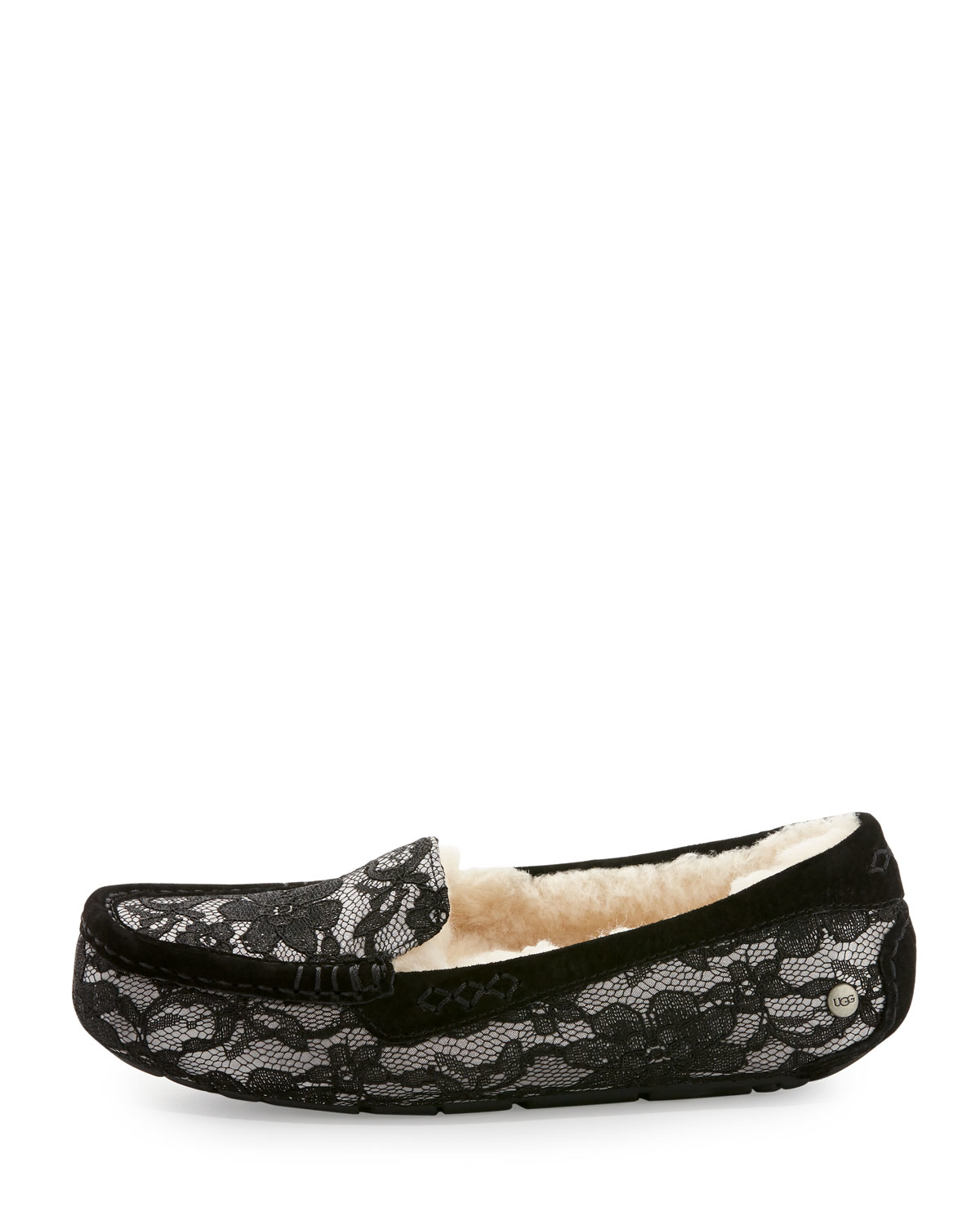 a295e765745 UGG Ansley Antoinette Lace Slippers in Black - Lyst