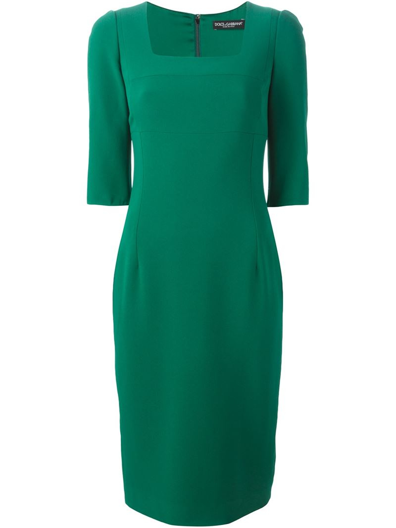 8cd9a3fe Dolce & Gabbana Silk-Blend Square Neck Dress in Green - Lyst