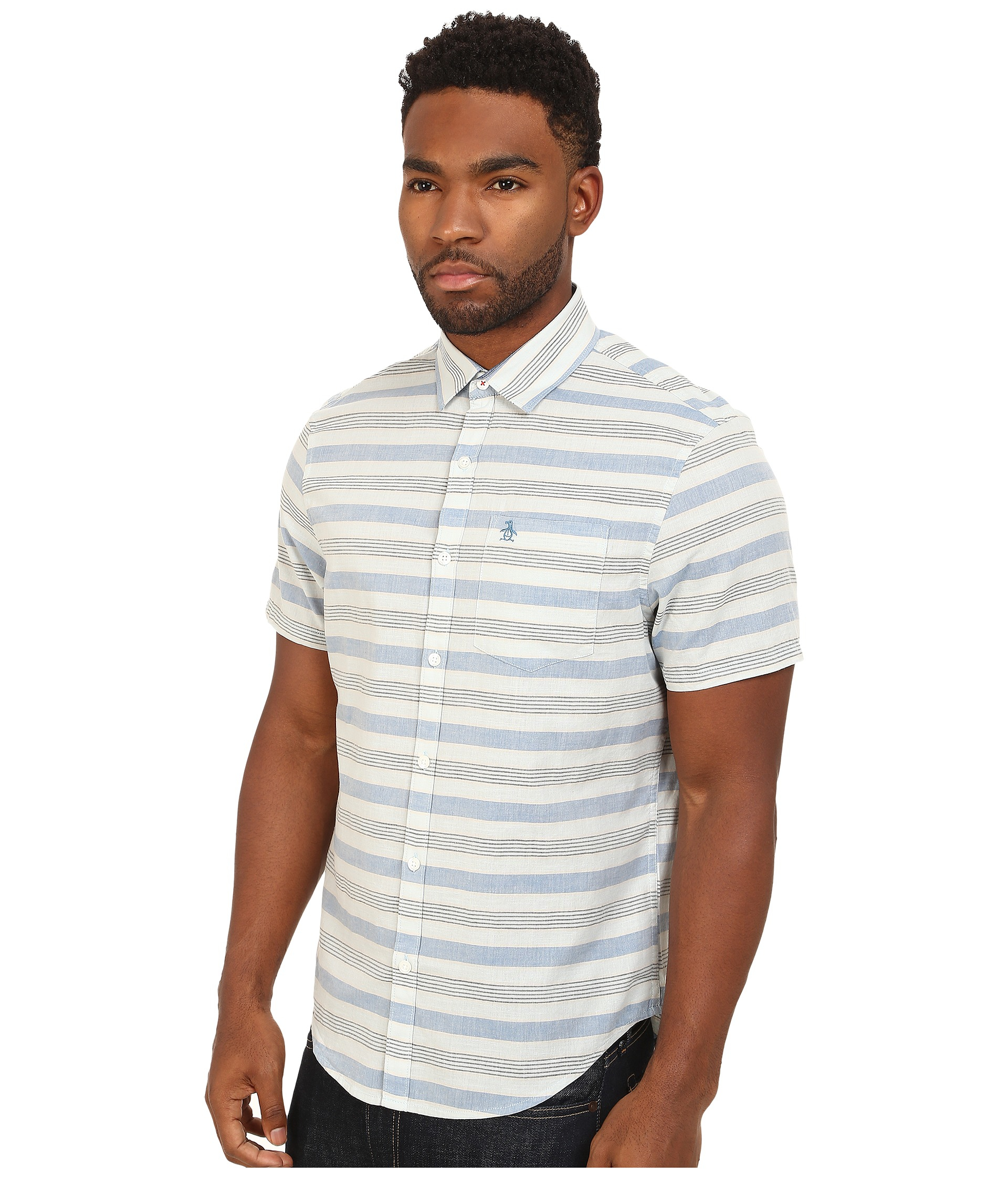 Lyst original penguin horizontal stripe short sleeve for Horizontal striped dress shirts men