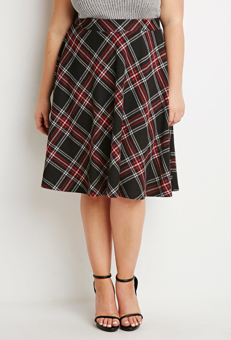 Forever 21 Plus Size Plaid A-line Skirt in Red | Lyst