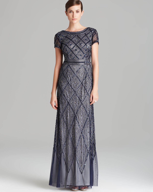 4c052b6d19e Lyst - Adrianna Papell Gown Short Sleeve Deco Diamond Beaded in Blue