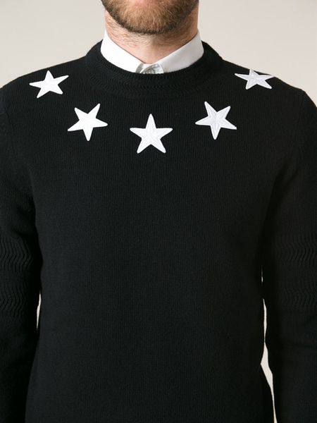 Givenchy star sweater in black for men lyst for Givenchy 5 star shirt