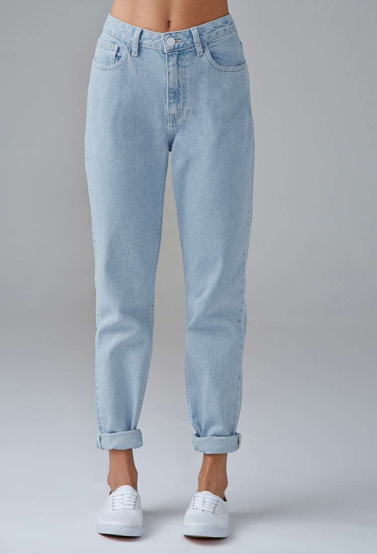Lyst - Forever 21 Mom Jeans in Blue