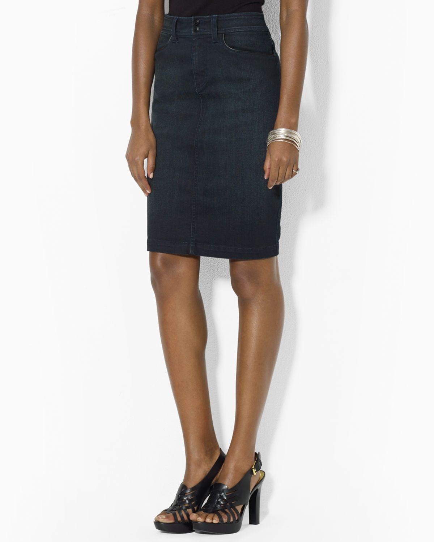 Ralph lauren Lauren Denim Pencil Skirt in Black | Lyst
