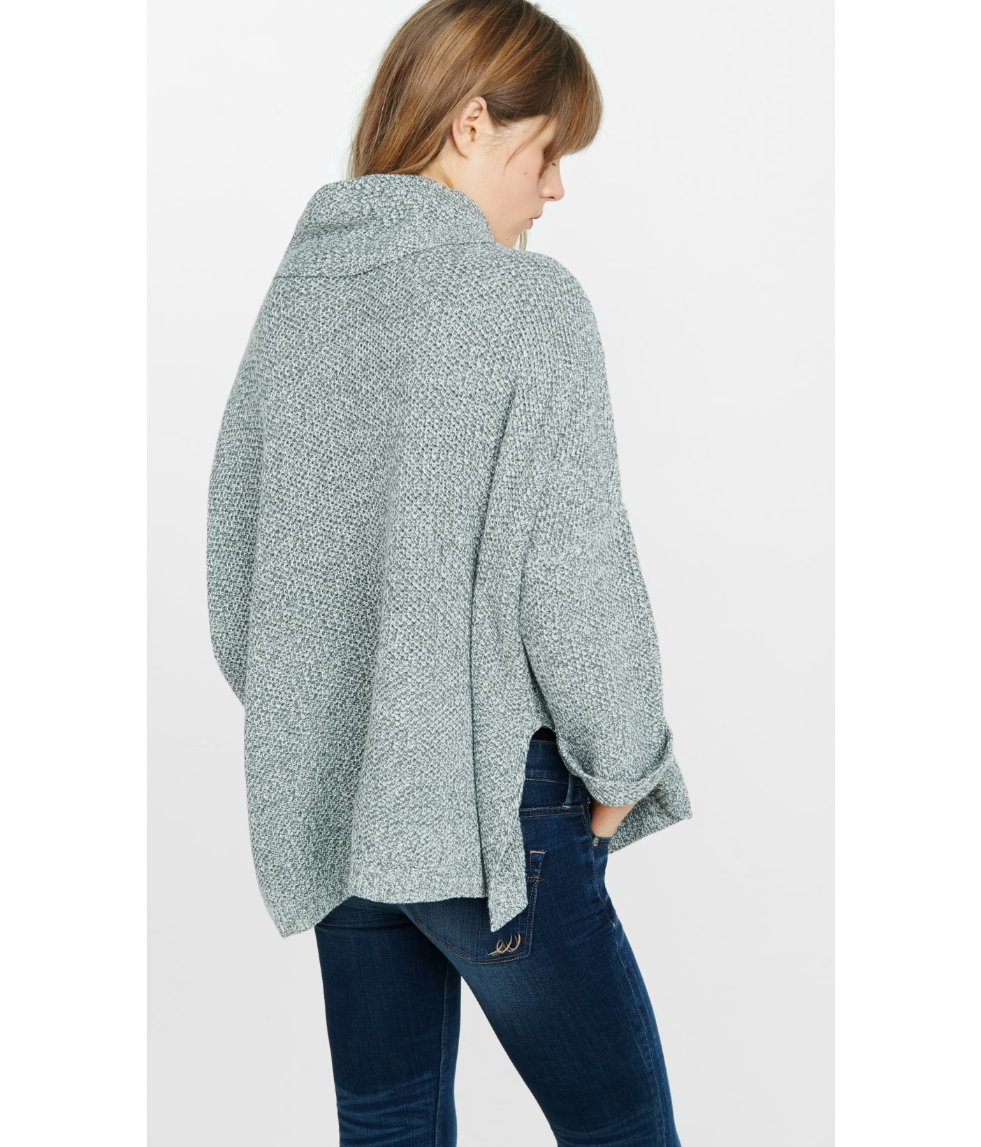 Express Marl Cowl Neck Boxy Sweater in Blue | Lyst