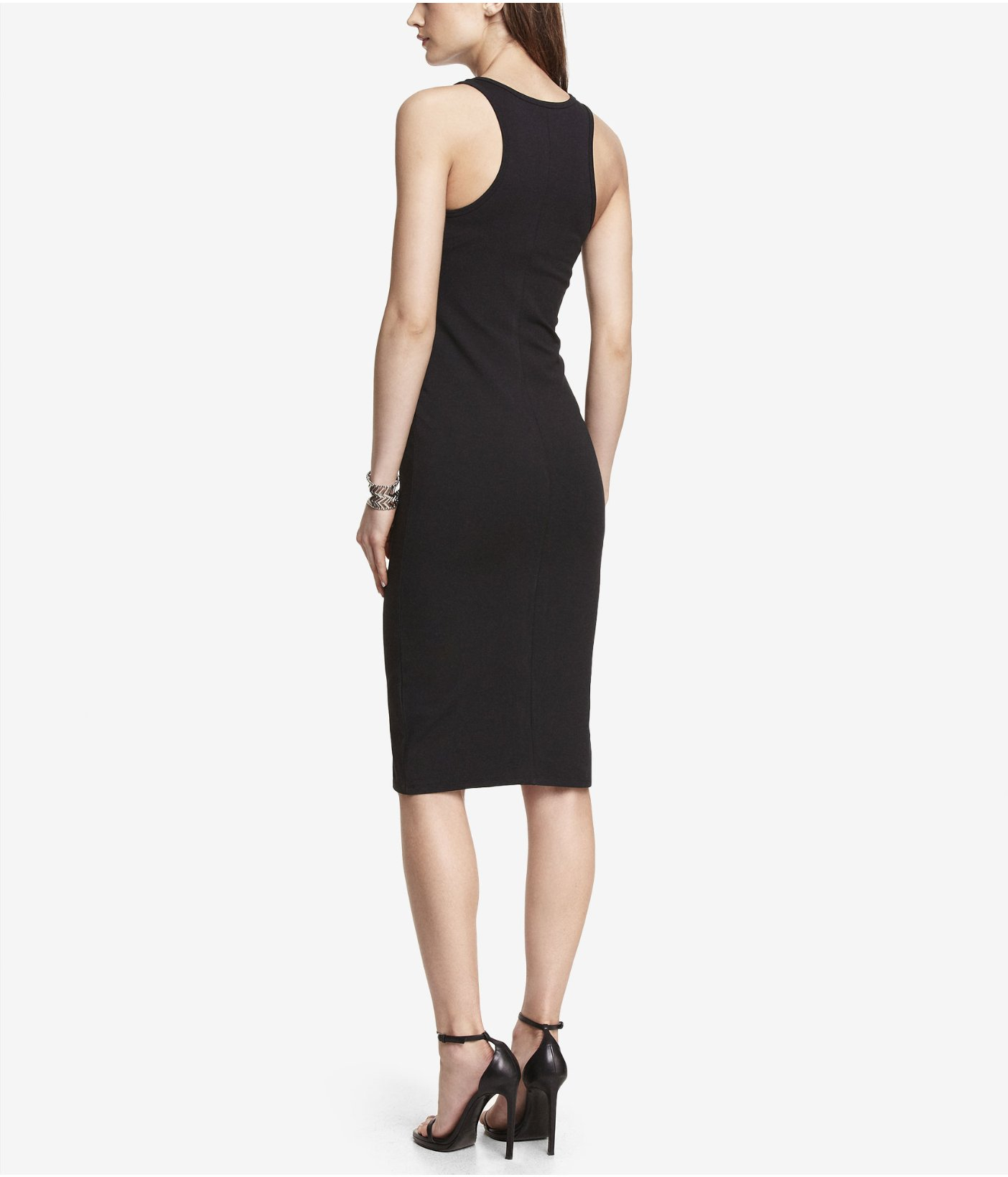 b8f7a1bf Express Zip Front Midi Sheath Dress in Black - Lyst