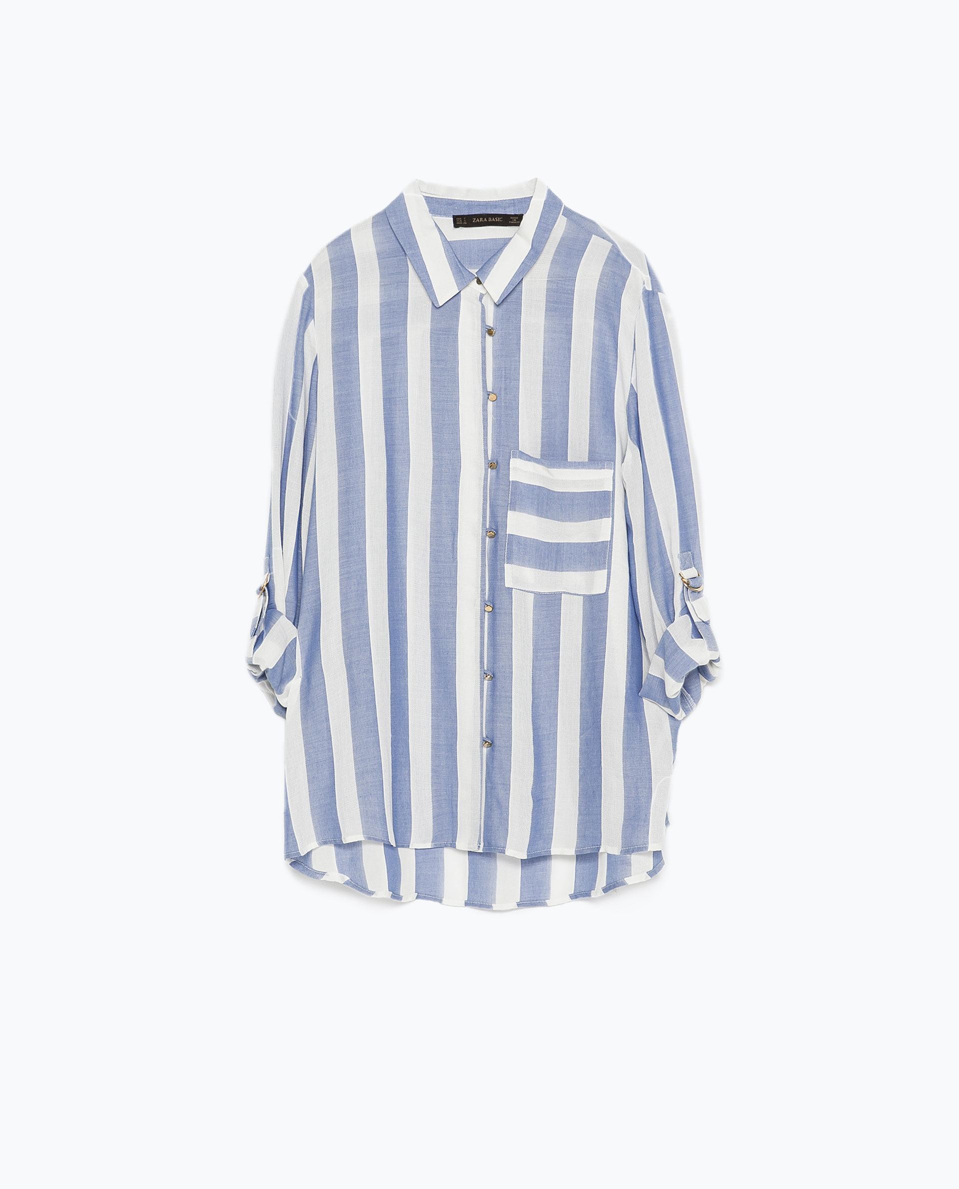 Zara Blue Wide Striped Shirt in Blue | Lyst
