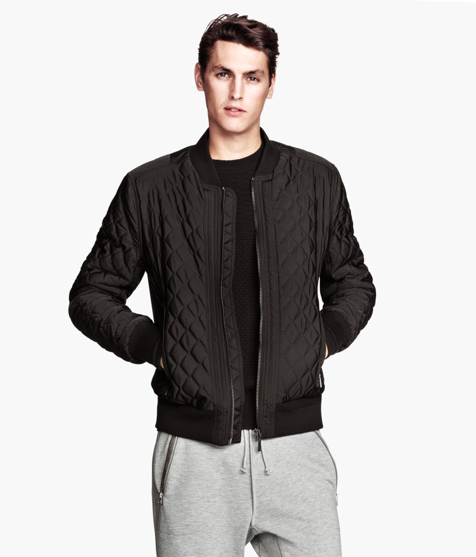 Lyst H Amp M Quilted Sweatshirt Jacket In Black For Men