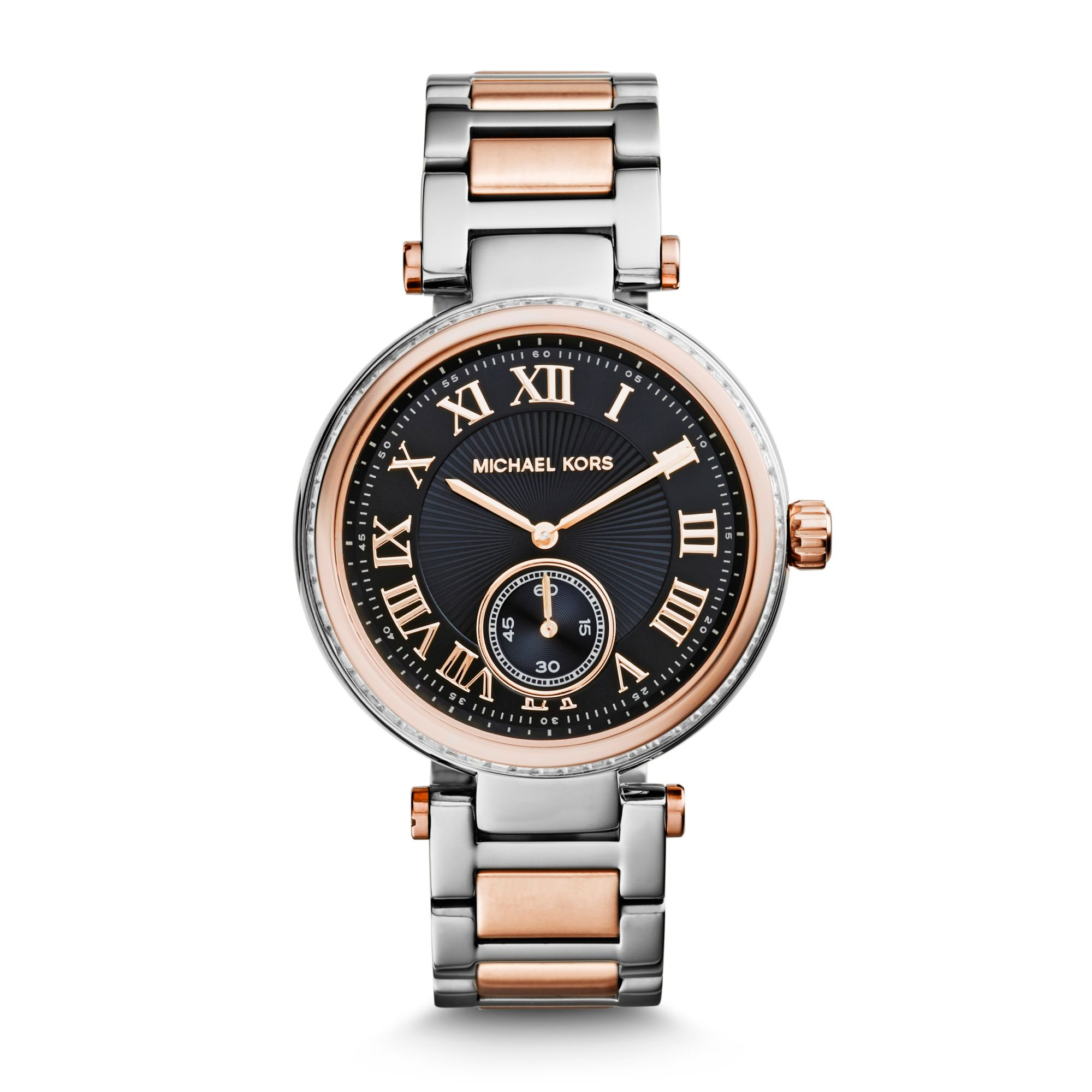 7f7e3dc8610ac Lyst - Michael Kors Skylar Silver And Rose Gold-Tone Bracelet Watch ...