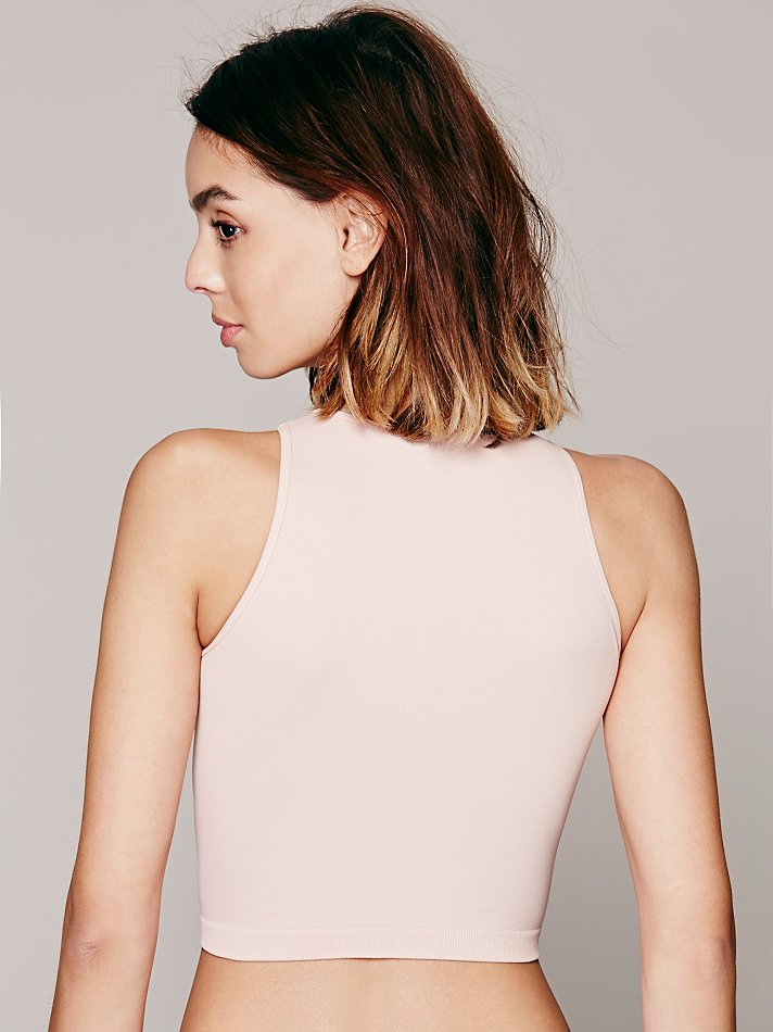 24273fc9c4 Lyst - Free People Intimately Womens High Neck Seamless Crop in Pink