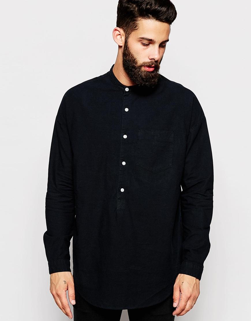 Lyst asos oversized shirt with drop sleeve and grandad Mens grandad collar shirt