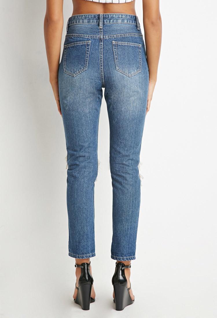 forever 21 destroyed boyfriend jeans in blue lyst. Black Bedroom Furniture Sets. Home Design Ideas