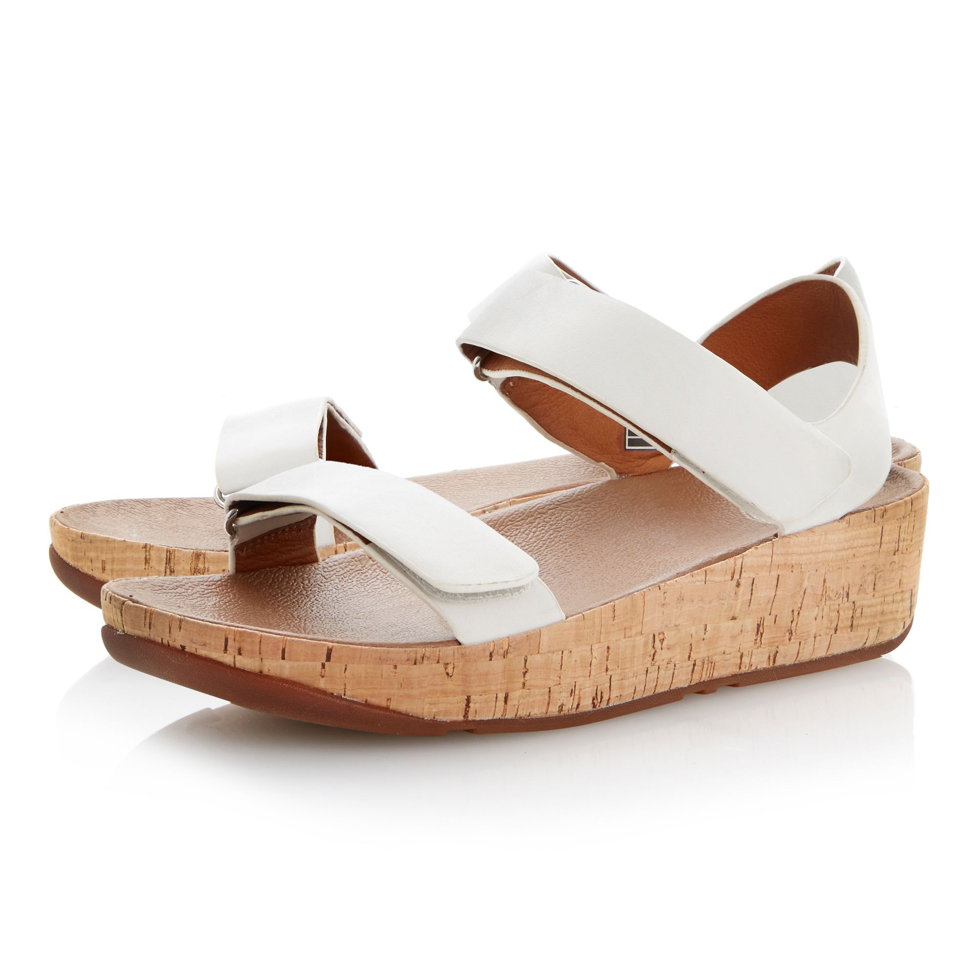 Fitflop Bon Easy Leather Velcro Strap Cork Sandals In