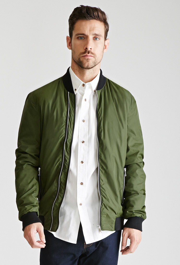 Forever 21 Zippered Bomber Jacket in Green for Men | Lyst