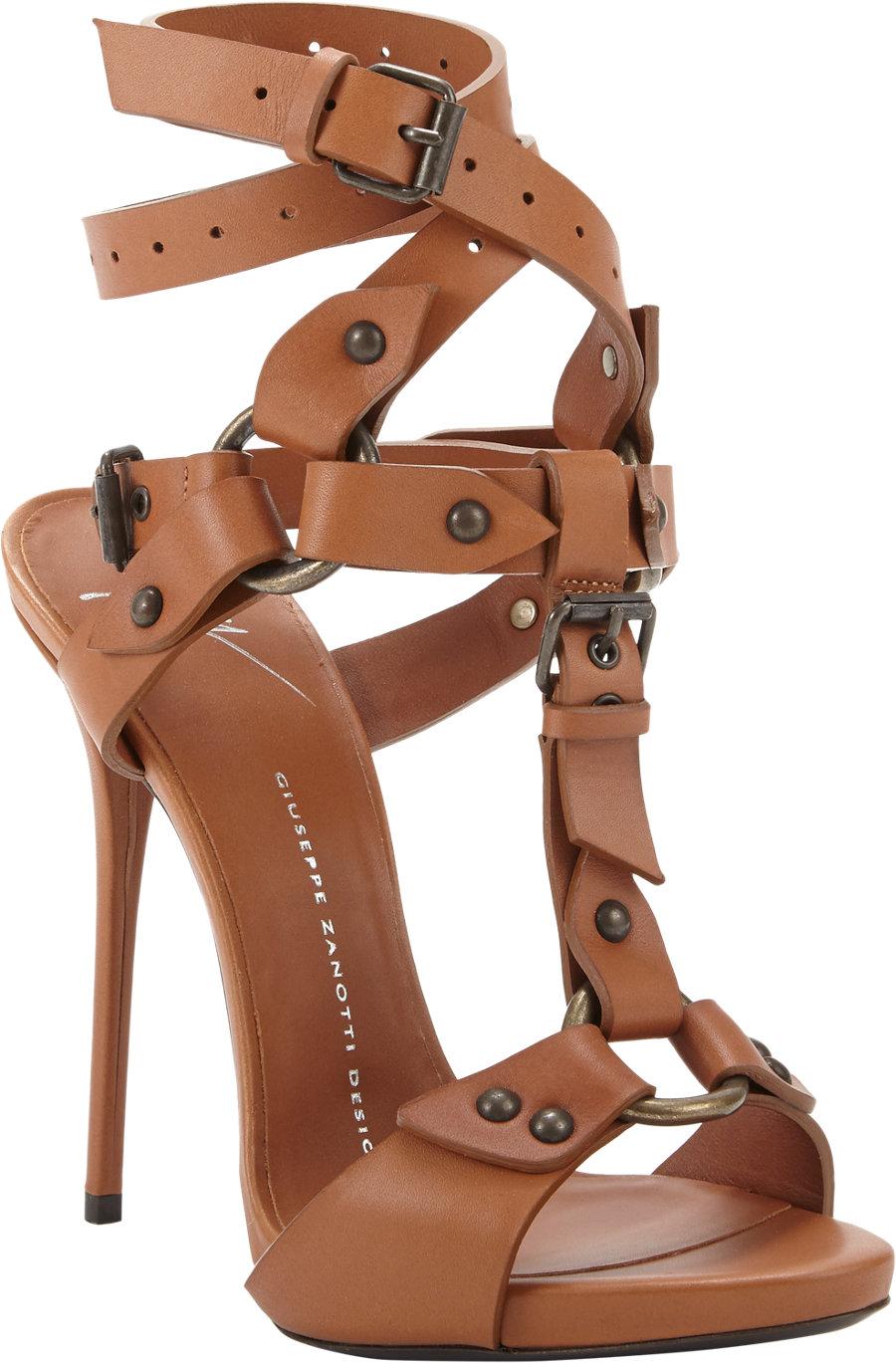 6bec3e1807b Lyst - Giuseppe Zanotti T-Strap Ankle Wrap Sandal in Brown