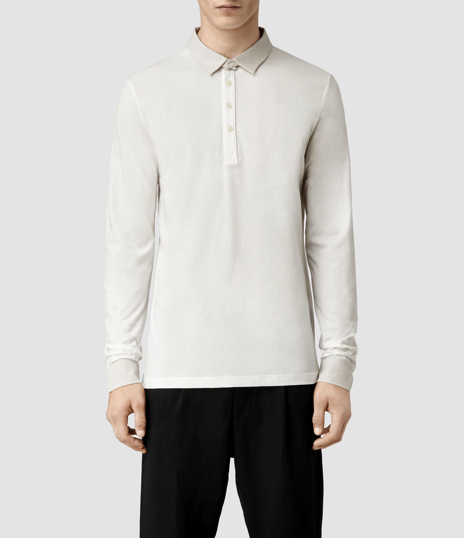 Lyst Allsaints Miltum Long Sleeved Polo In White For Men