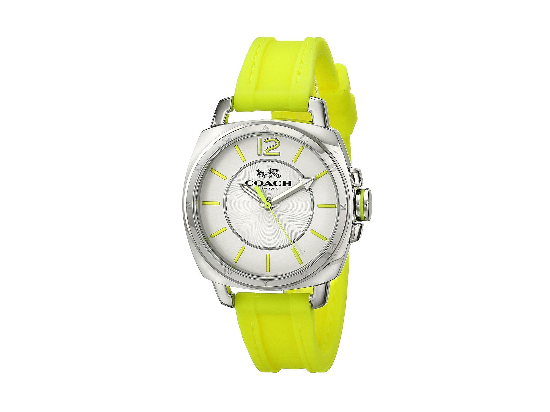 a83f0399b Lyst - COACH Boyfriend Small 34Mm Rubber Strap Watch in Metallic